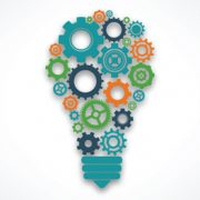 A lightbulb of cogs to illustrate service innovation