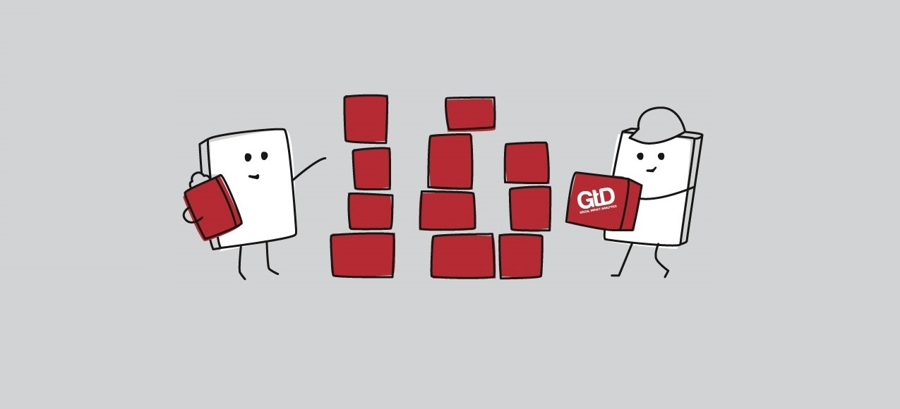 Characters building a number 10 to illustrate it's nearly GtD's 10th year in business